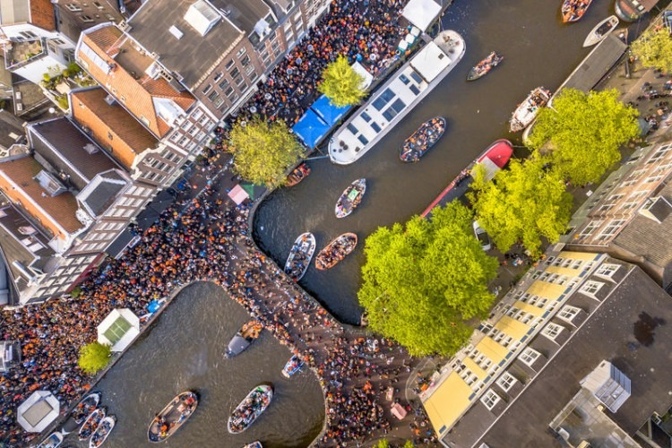 How King's Day is celebrated in Amsterdam.