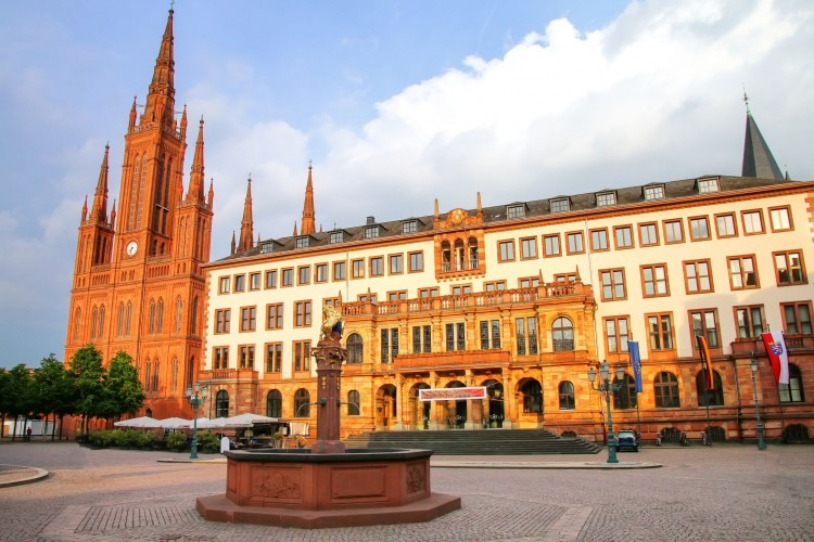 Schlossplatz with Marktkirche in Wiesbaden