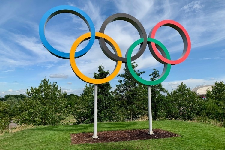 The Olympic rings at the Queen Elizabeth Olympic Park in London.   Photo by Kyle Dias via Unsplash