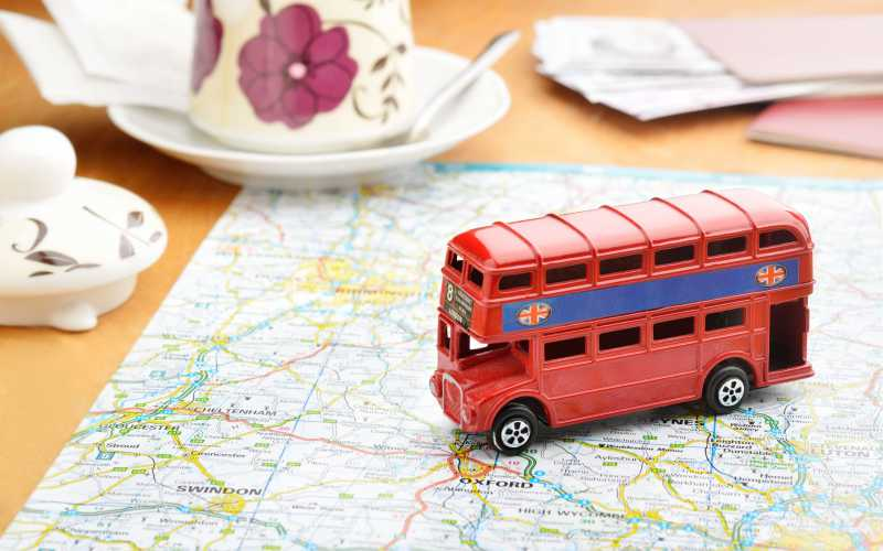 Toy bus on top of London map.