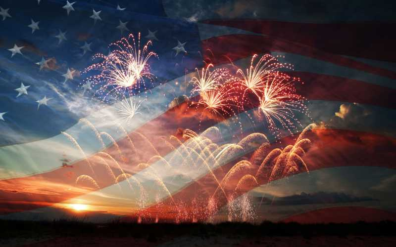 fireworks with american flag background