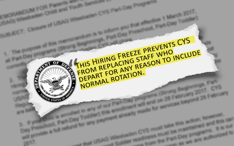 Children and Youth Services at U.S. Army Garrison Wiesbaden, Germany, will be restricted starting March 1, 2017, due to a hiring freeze that has caused staffing shortages. A similar cutback will take place at the CYS in Fort Knox, Ky. STARS AND STRIPES