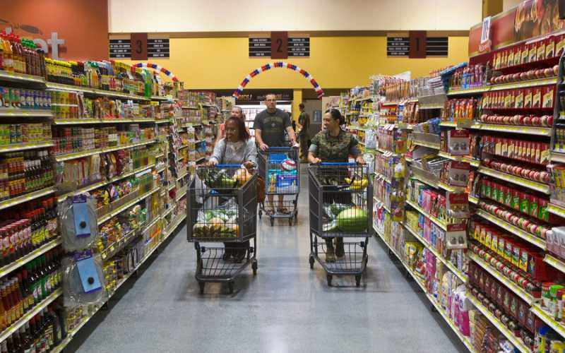 Customers walk through the new commissary at Marine Corps Air Station Iwakuni, Japan on June 21, 2016. Justin A. Fisher/U.S. Marine Corps