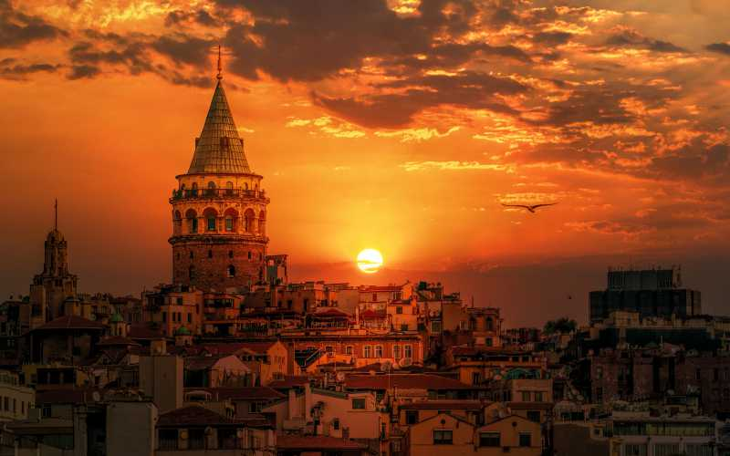 Sunset over the beautiful city of Istanbul