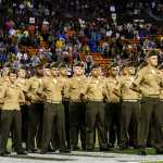 U.S. Marine Staff Sgt. Jason Lacount stands before a formation of Marines with U.S. Marine Corps Forces, Pacific, during the University of Hawaii Military Appreciation Game Night at Aloha Stadium, Hawaii, Oct. 29, 2016. Marine Corps photo by Lance Cpl. Robert Sweet