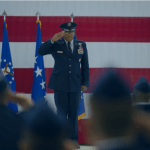 Lt. Gen. Richard Clark, Third Air Force commander, receives his first salute as commander during the unit's change-of-command ceremony at Ramstein Air Base, Germany, on Friday, Oct. 21, 2016. Michael B. Keller/Stars and Stripes