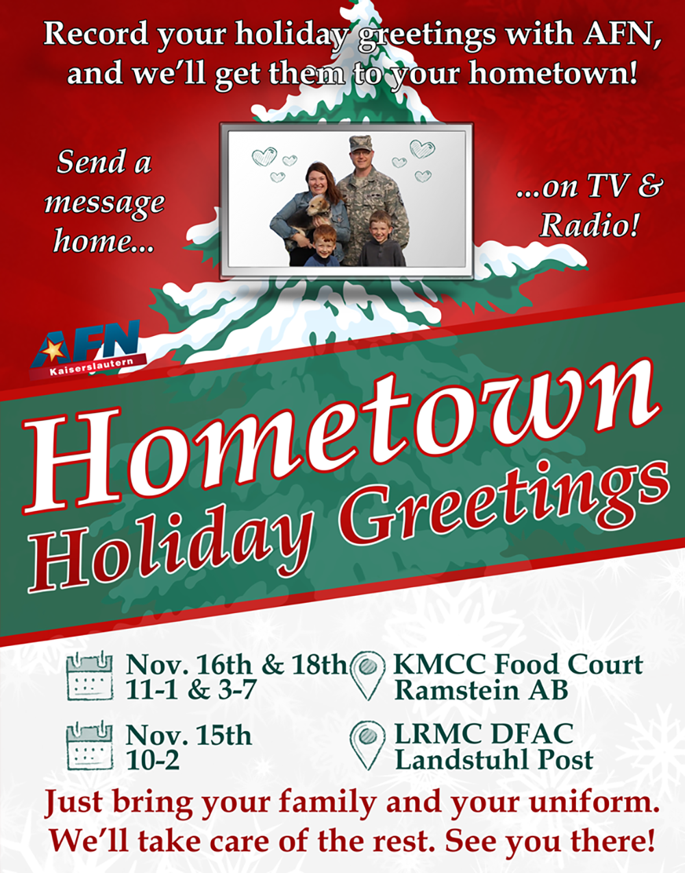 Afn to record hometown holiday greetings stripes europe greeting represents all the men and women serving in the armed forces and these greetings are a reminder that not everyone is home with their family m4hsunfo